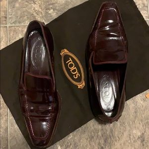 Tod's Women's Dk Burgundy Patent Leather Loafers